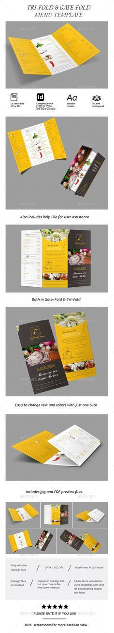 Restaurant Menu A4 / Letter Tri-fold | Tri fold, Brochure template ...