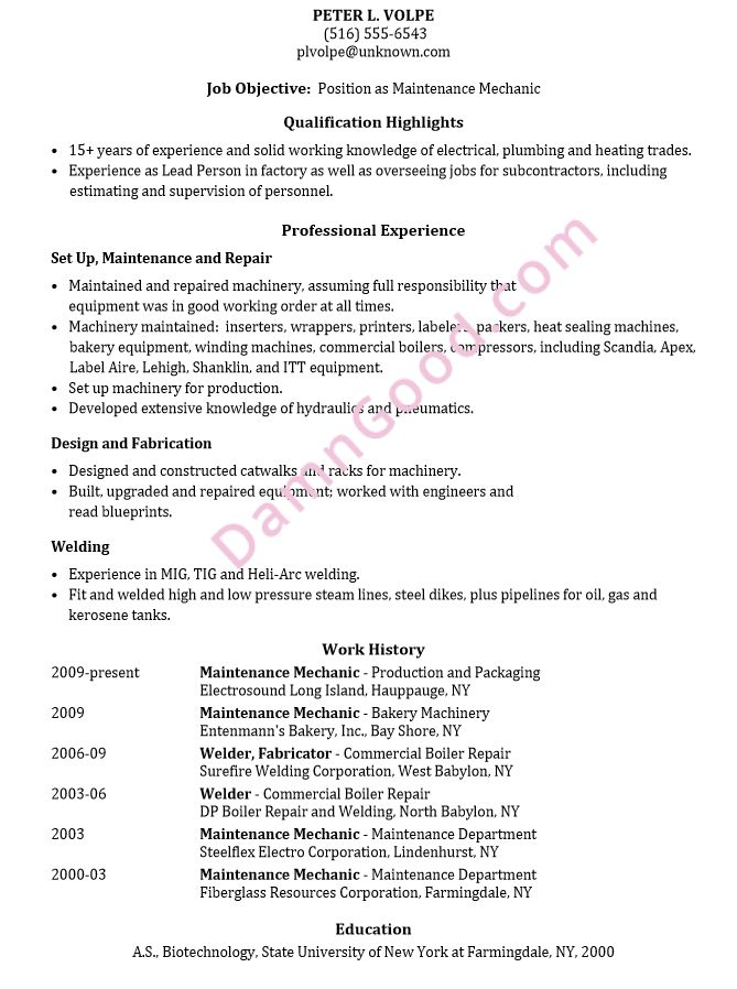 Resume Sample: Maintenance Mechanic