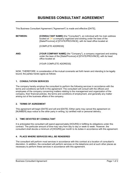 Consulting Agreement Short - Template & Sample Form | Biztree.com