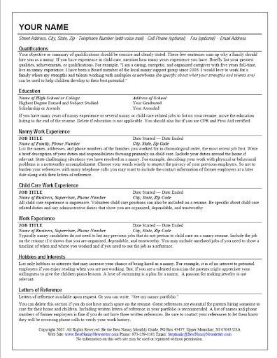 The Standout Nanny Resume –
