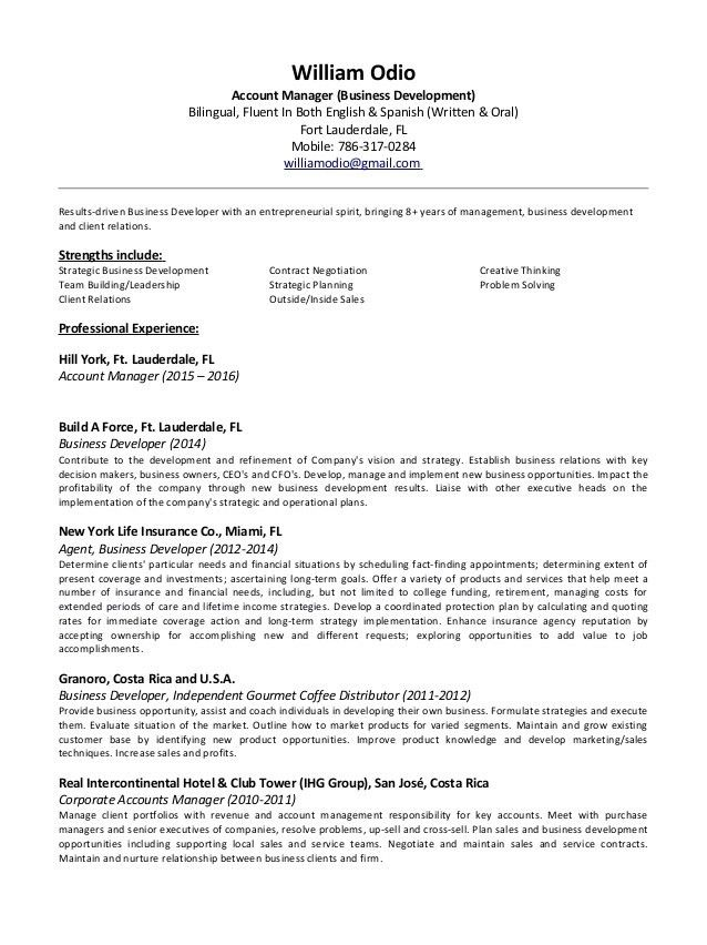 William Odio Account Manager Resume