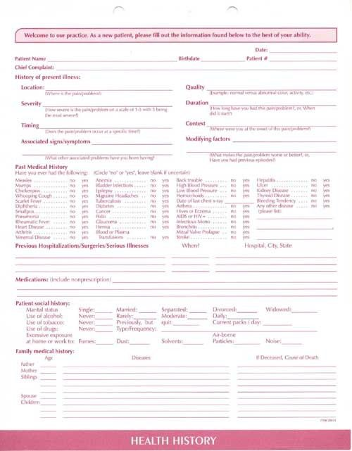 Clinical Data Forms-Complete Medical System, Clinical Data Forms ...