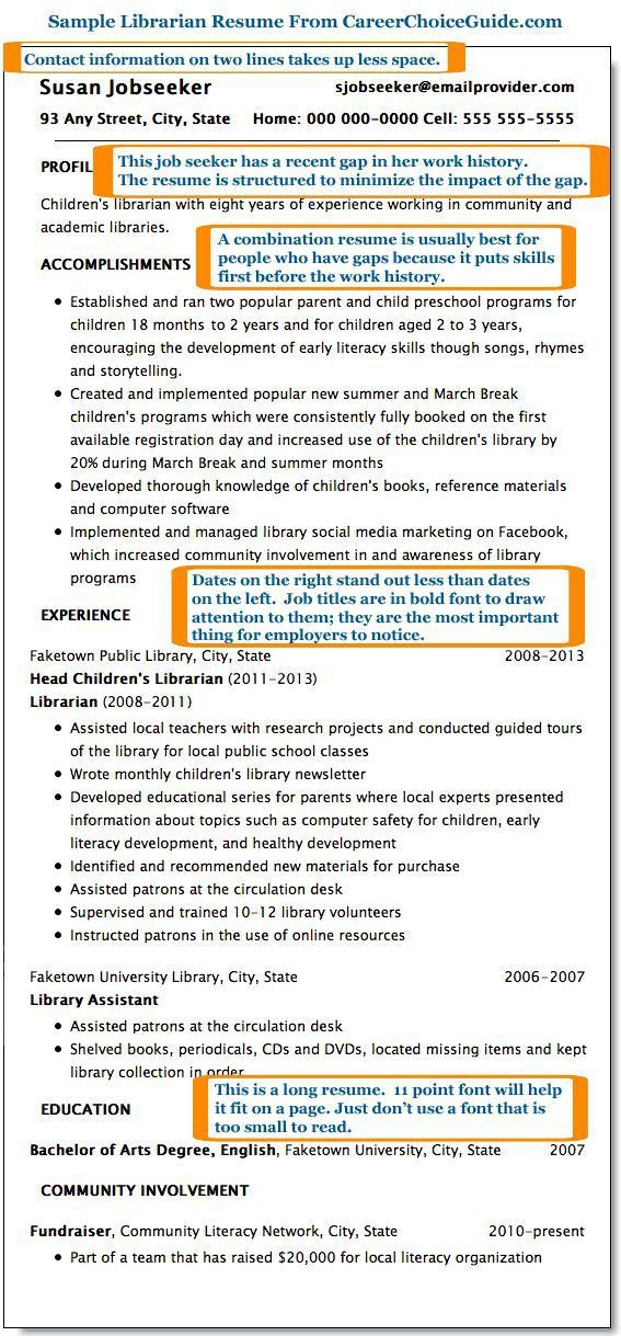 Librarian resume - Gap in work history | Jobs Resumes Work ...