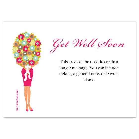 Giril with flowers get well soon card, Invitations & Cards on ...