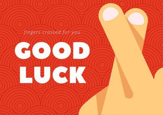 Red Fingers Crossed Good Luck Card - Templates by Canva