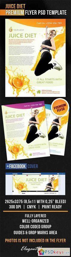 Healthy Diet Program Flyer PSD Template + Facebook Cover | ads ...