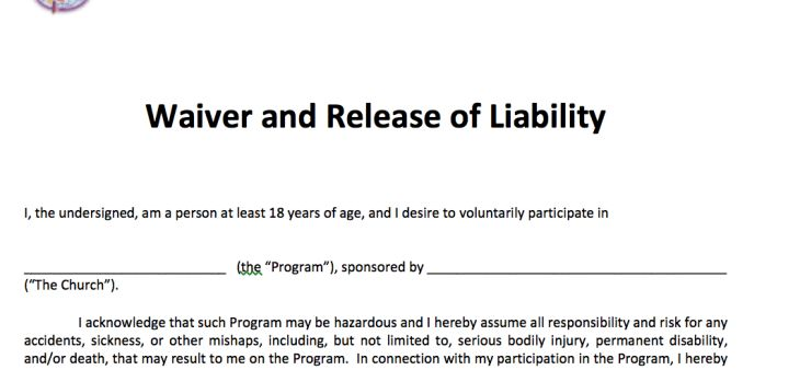 Waiver and Release of Liability – Adult « Free Methodist Church ...