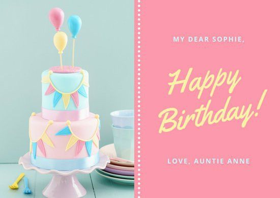 Pink Pastel Cake Photo Cute Birthday Card - Templates by Canva