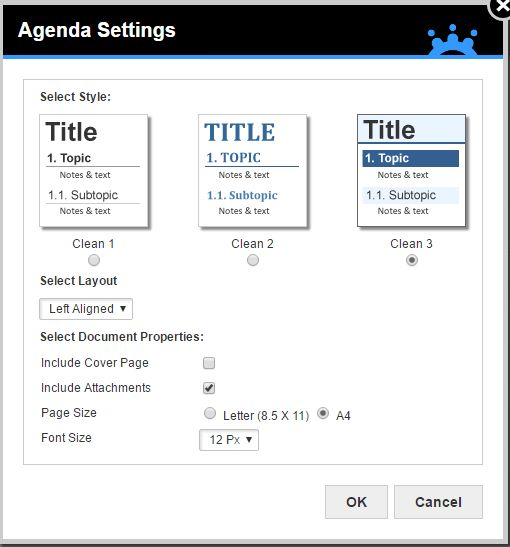 How can I change the layout of my agenda? |