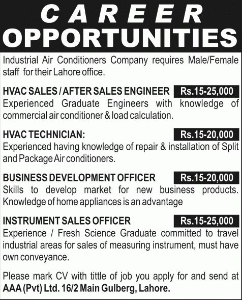 AAA (Pvt.) Ltd Lahore Jobs 2014 February / March for HVAC ...