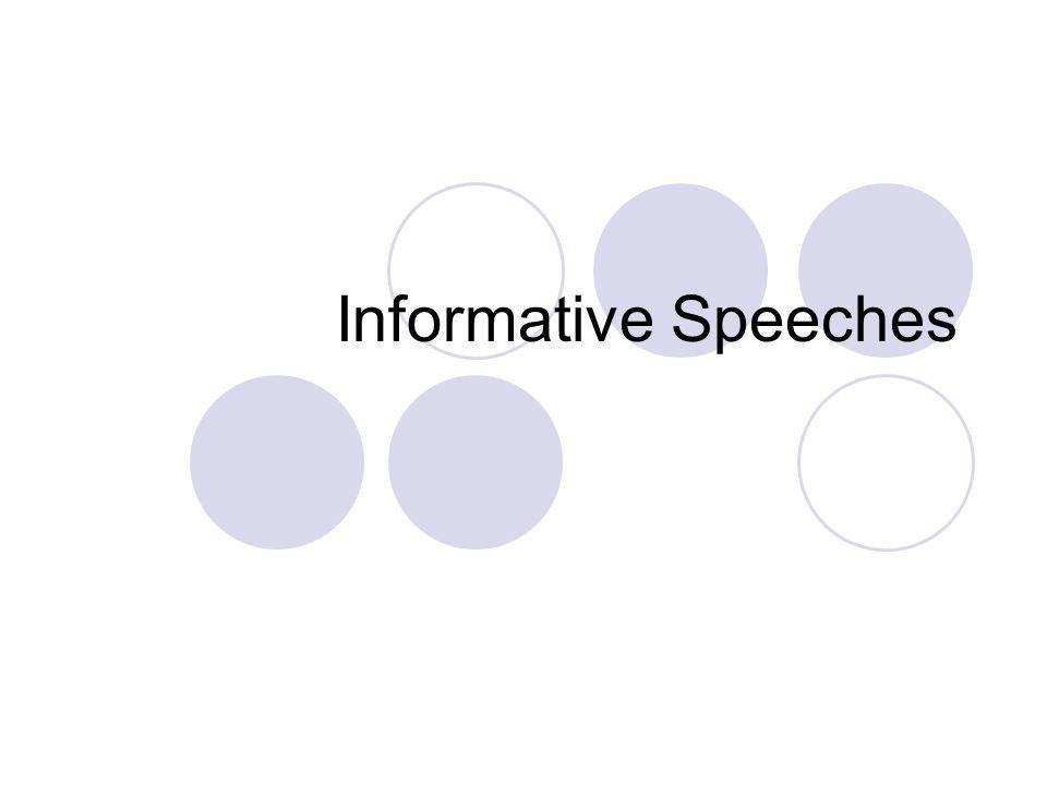 Informative Speeches. Informative Speech Assignment Refer to ...