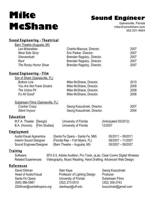 Professional Sound Theatrical and Audio Engineer Resume with Mike ...