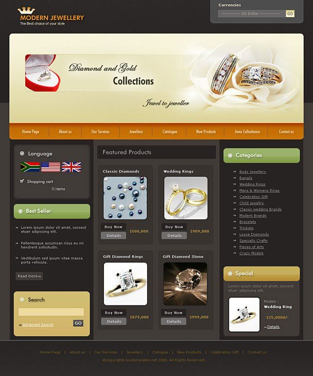 Business directory website template for jewellery shops