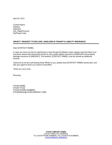 Request to Include Landlord in Tenant's Liability Insurance ...