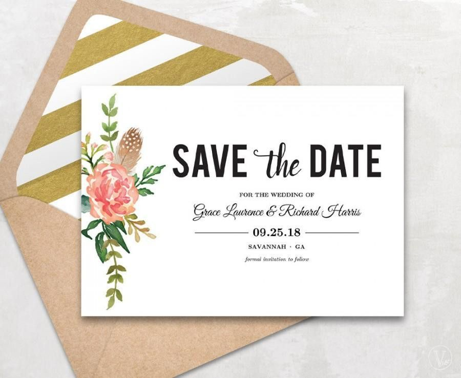 Save The Date Template, Floral Save The Date Card, Boho Save The ...