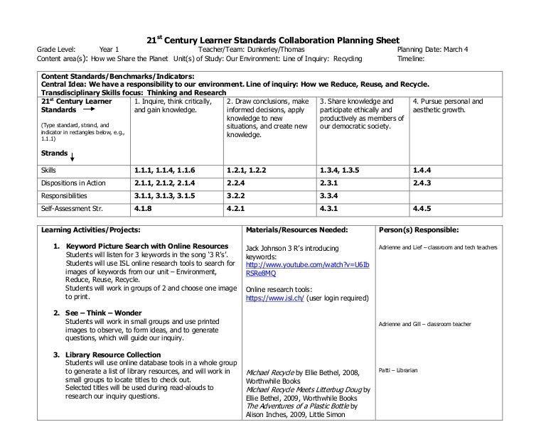 21st century learner standards adrienne dunkerley collaboration plann…