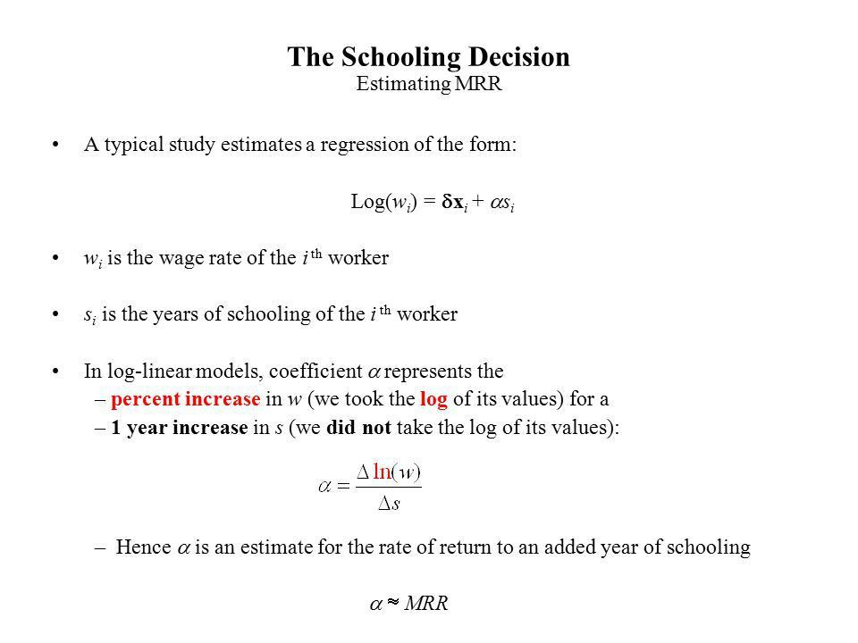 The Schooling Decision - ppt video online download