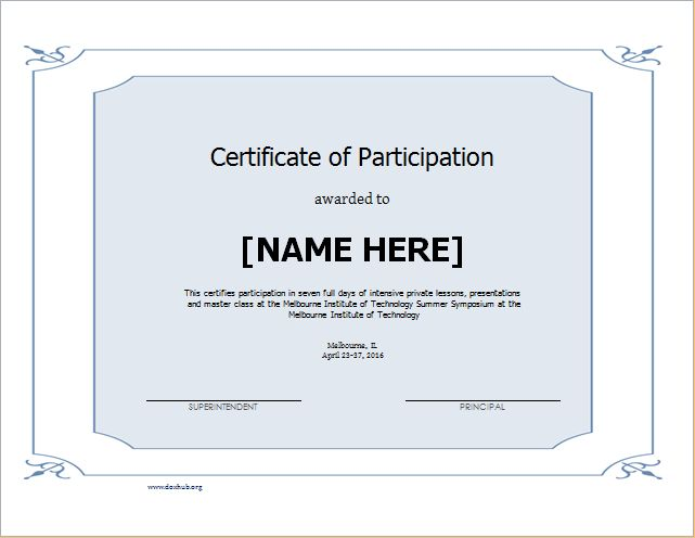 Certificate of Participation Template for WORD | Document Hub