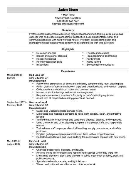 Best Houseperson Resume Example | LiveCareer