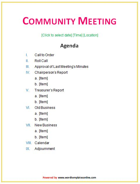 Community Meeting Agenda Template - Microsoft Word Templates