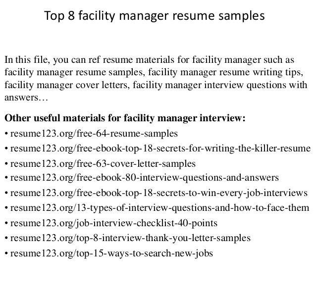 Plush Facility Manager Resume 9 Top - Resume Example