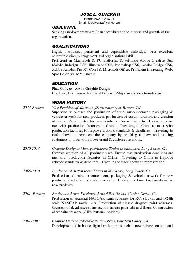Jose Olvera -Graphic Designer Resume