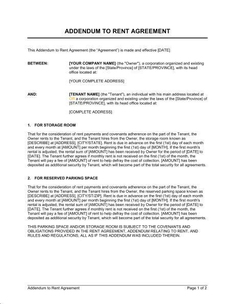 Addendum to Rent Agreement - Template & Sample Form | Biztree.com