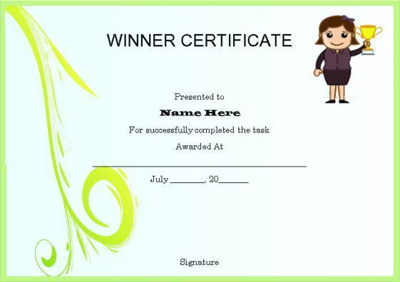 Winner Certificate Template : 40+ Word Templates [ For ...