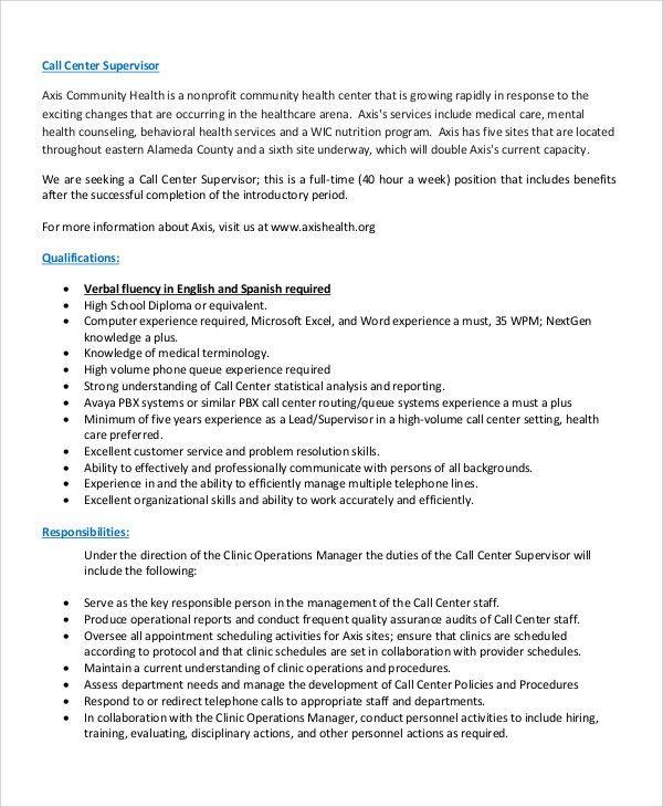Sample Call Center Job Description - 9+ Examples in PDF