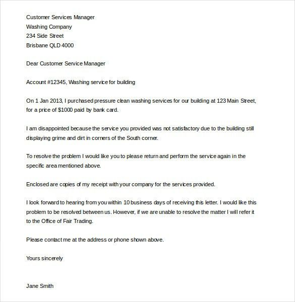 Customer Complaint Letter – 9+ Free Word, PDF Documents Download ...