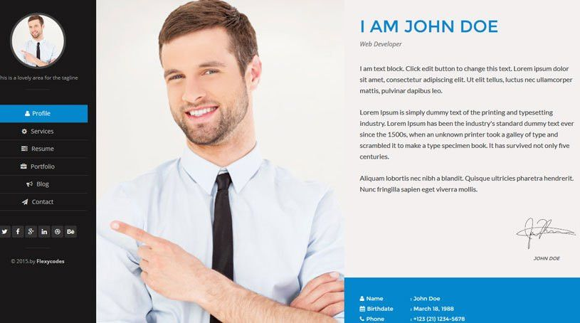 Resume Website Template Signature One Page HTML Resume Template ...