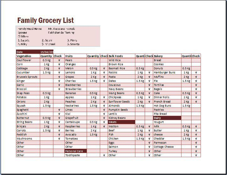 Grocery List Template. Grocery List Family Grocery List Excel ...
