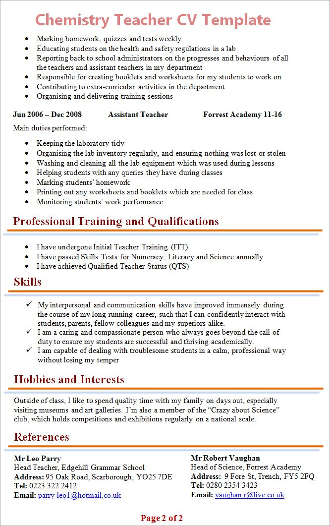Chemistry Teacher CV Template + Tips and Download – CV Plaza
