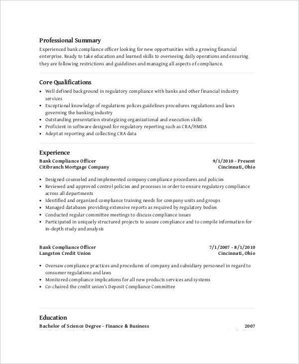Compliance Resume, chief compliance officer resume sample cco ...