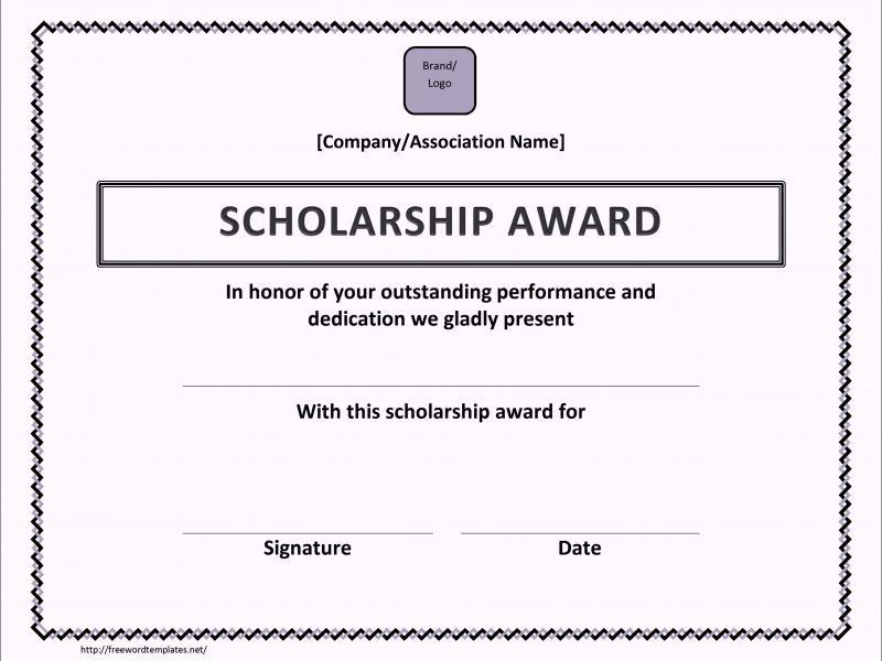 Sample Scholarship Award Certificate | TemplateZet