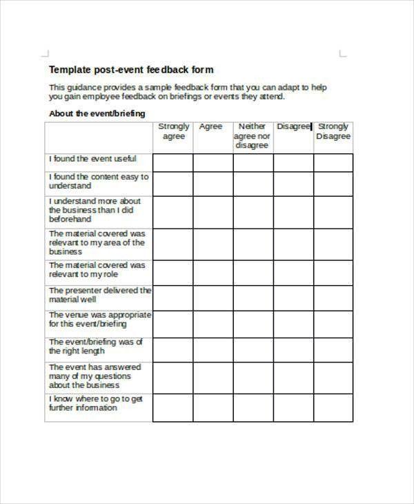Event Feedback Form. Workshop, Event & Seminar Feedback Form ...