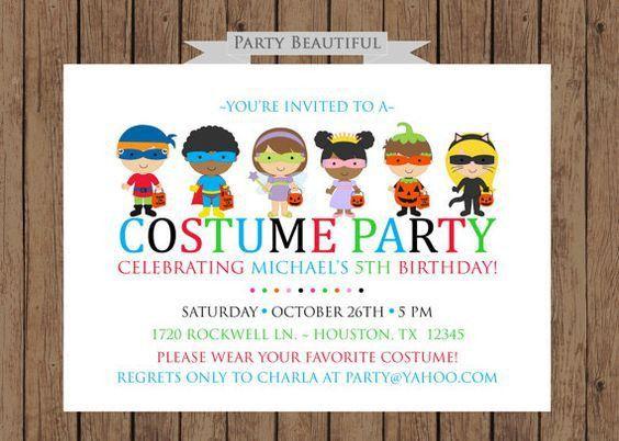 Costume Birthday Party Invitation - vertabox.Com