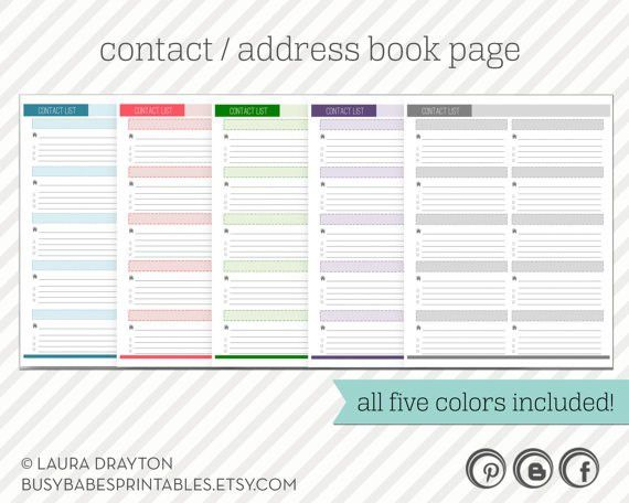 Contact List Printable - includes five colors - Address Book Page ...