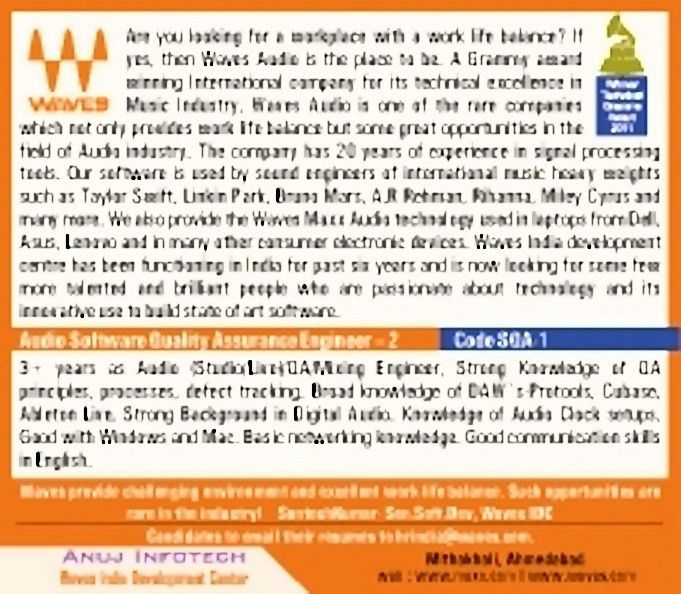 Job - Audio Software Quality Assurance Engineer - Ahmedabad - QC ...