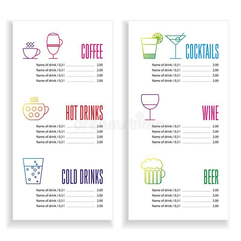Drink Menu Template Stock Vector - Image: 57564757