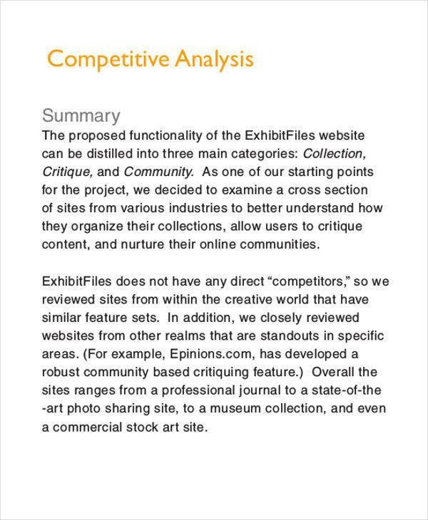 6 Competitive Analysis - Free Sample, Example, Format Download