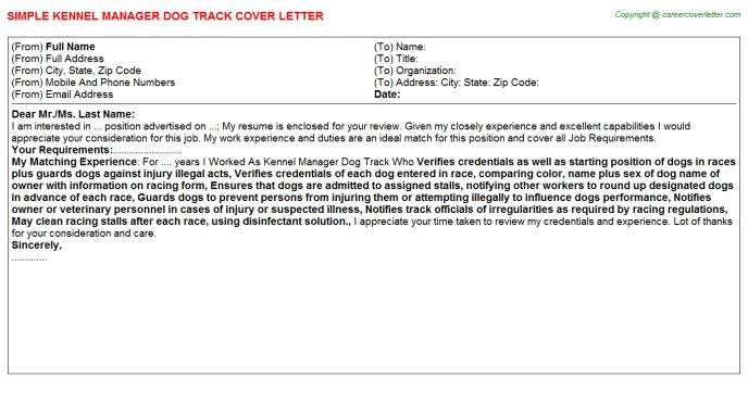 Kennel Assistant Cover Letter] Kennel Worker Cover Letter Example .