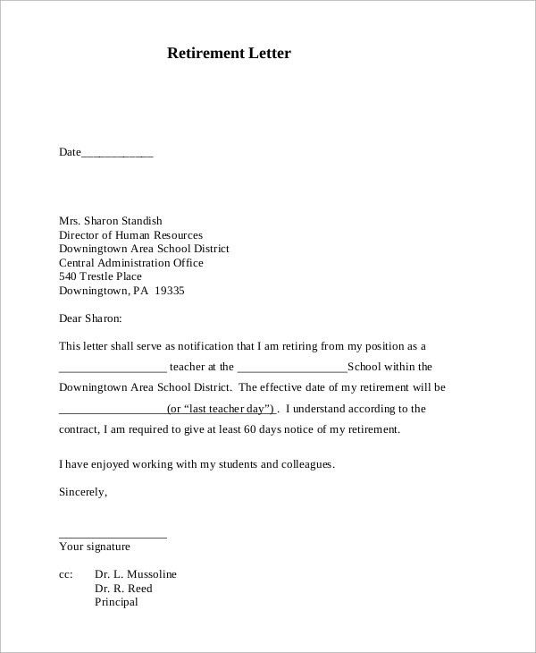 Sample Retirement Letter - 10+ Examples in PDF, Word