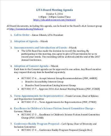 Agenda Format Sample - 30+ Examples in Word, PDF
