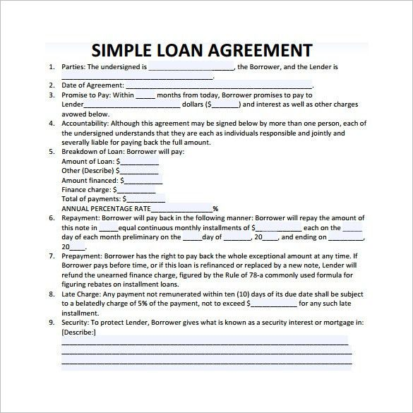 loan contract agreement template