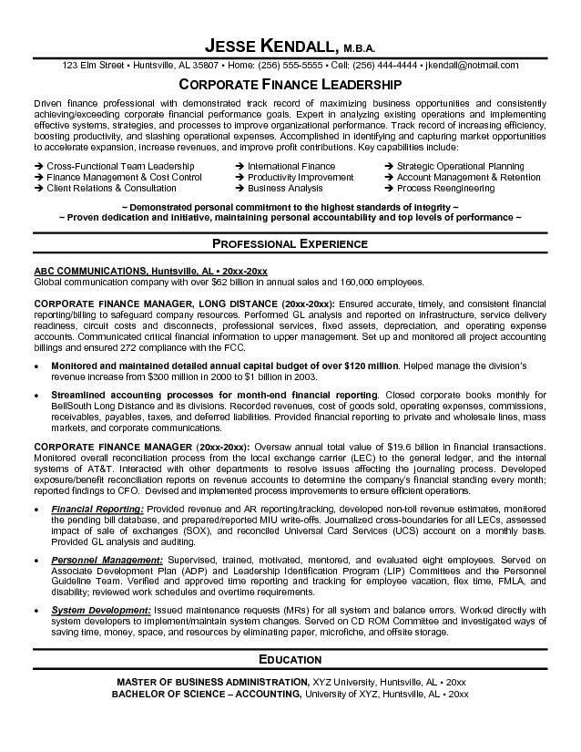 Corporate Resume Examples. Finance Resume - Sample Financial ...