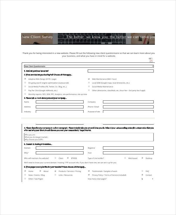 Client Survey Template - 7+ Free Word, PDF Documents Download ...