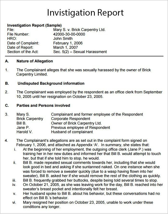 Workplace Investigation Report Template - 4+ Free PDF, Word ...