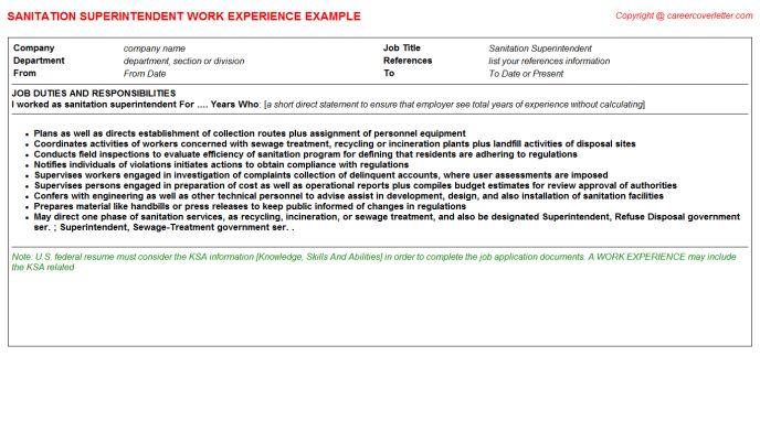 Sanitation Superintendent Job Title Docs