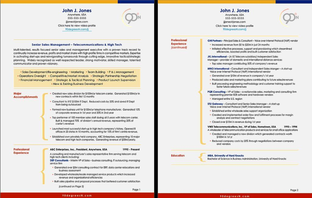 Best Two Page Resume Sample – Resume Template For Free